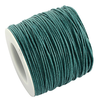Eco-Friendly Waxed Cotton Thread Cords, Macrame Beading Cords, for Bracelet Necklace Jewelry Making, Teal, 1mm; about 100yards/roll(YC-R008-1.0mm-275)