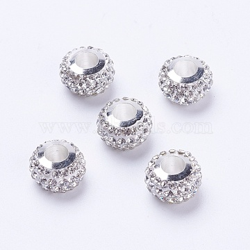 Polymer Clay Grade A Rhinestone European Beads, with Brass Cores, Silver Color Plated, Large Hole Beads, Rondelle, Crystal, 11~12x7.5~8mm, Hole: 5mm(CPDL-J039-S01)