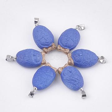 Handmade Porcelain Pendants, Frost, with Brass Findings, Face, Platinum, RoyalBlue, 24.5~25x13~13.5x9~9.5mm, Hole: 4.5x4mm(PORC-T002-119)