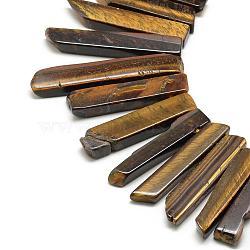 "Chapelets de perles d'œil de tigre naturel, rectangle, 20~65x7~15x6~10mm, trou: 2mm; environ 40~45 pcs/chapelet, 15.7""(G-R419-09)"