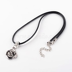 """Rose alliage pendentifs, avec cordon ciré et chaîne de fer, argent antique, 17.7""""(NJEW-E075-13)"""