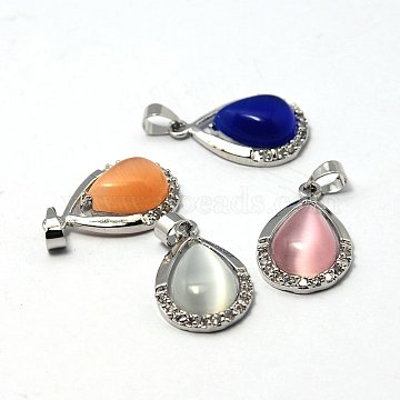 Platinum Mixed Color Drop Brass+Cat Eye Pendants