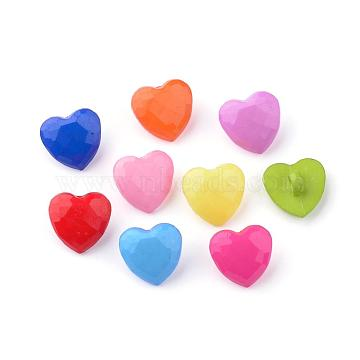 Acrylic Shank Buttons, Heart, Mixed Color, 13.5x14x7.5mm, Hole: 3mm(BUTT-S020-52)