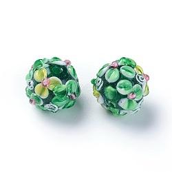 Fait main perles au chalumeau cahoteuses, rond, verte, 14~15mm, Trou: 1.5~1.6mm(LAMP-E021-07E)