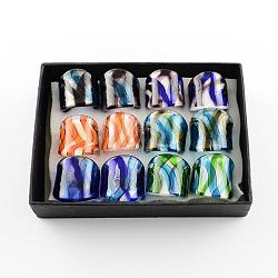 Main feuille d'argent chalumeau larges anneaux de bande, couleur mixte, 17~19 mm; environ 12 pcs / boîte(RJEW-Q150-M02-B)