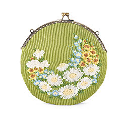 SHEGRACE Corduroy Women Evening Bag, with Embroidered Milk Cotton Flowers, Alloy Flower Purse Frame Handle, Alloy Twisted Curb Chain, GreenYellow, 210mm(JBG008A-01)