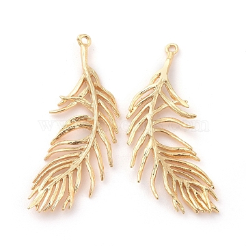 Brass Pendants, Feather, Nickel Free, Real 18K Gold Plated, 36~37x15~16x1.5mm, Hole: 1.2mm(X-KK-S350-237)