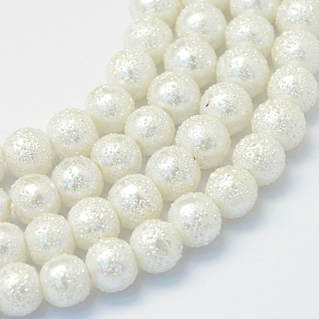 Baking Painted Textured Glass Pearl Round Bead Strands, White, 8~9mm, Hole: 1mm; about 105pcs/strand, 31.4 inches(X-HY-Q002-8mm-01)