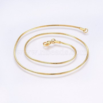 304 Stainless Steel Snake Chain Necklaces, with Lobster Claw Clasps, Golden, 15.7 inches(40cm), 1.4mm(X-NJEW-F221-05G)