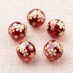 Image de fleur en verre imprimé perles rondes, rouge, 12mm, Trou: 1mm(GLAA-J089-12mm-A03)