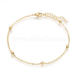 Vacuum Plating 304 Stainless Steel Cable Chain Anklets, Golden, 9 inches(22.8cm), 1.7mm(AJEW-P069-03G)