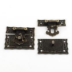 Boîte en bois agrafes de verrouillage de capture, bronze antique, 42x51x9mm, Trou: 2.5mm(X-IFIN-R203-49AB)