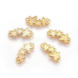 Réglages du connecteur en alliage, les supports d'émail, étoiles, or, 8.5x19.5x1.5mm, Trou: 1.2mm(PALLOY-WH0053-02G)
