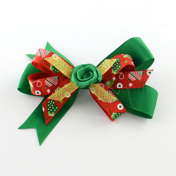 Christmas Grosgrain Bowknot Alligator Hair Clips, with Iron Clips, Green, Platinum, 80x130mm(PHAR-R167-17)