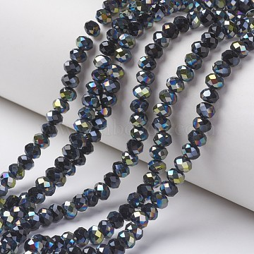 Electroplate Opaque Glass Beads Strands, Half Green Plated, Faceted, Rondelle, Black, 4x3mm, Hole: 0.4mm; about 145pcs/strand, 18.9 inches(48cm)(X-EGLA-A034-P4mm-S02)