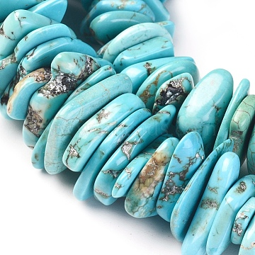 Natural Howlite Chip Beads, Dyed, Nuggets, Turquoise, 11~31x10~25x1~5mm, Hole: 0.6mm, about 20pcs/20g(X-TURQ-L031-010)