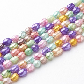 Dyed Natural Cultured Freshwater Pearl Beads, Rice, Mixed Color, 5~6mm, Hole: 0.5mm(X-PEAR-R007-5~6mm)
