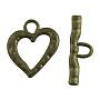 Tibetan Style Toggle Clasps, Zinc Alloy, Heart, Antique Bronze, Cadmium Free & Nickel Free & Lead Free; Heart: 26x23x2mm, Bar: 31x10x2mm