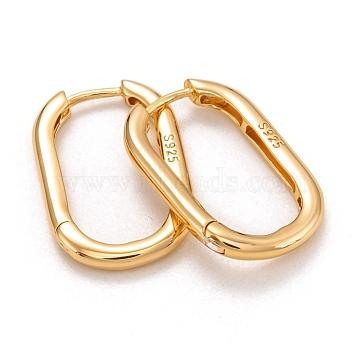 925 Sterling Silver Huggie Hoop Earrings, Carved 925, Oval, Golden, 26x16x2.5mm, Pin: 1mm(EJEW-H110-14G)