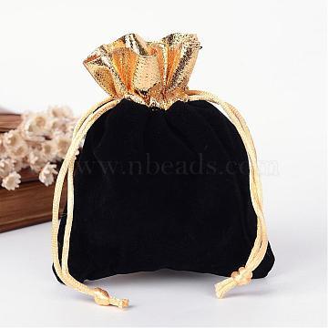 Rectangle Velvet Jewelry Bag, Black, 12x10cm(TP-R001-10x12-01)