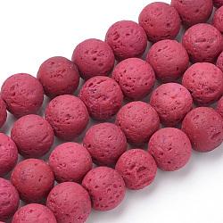 """Chapelets de perles de lave naturelle, teint, rond, cerise, 8~8.5mm, trou: 1mm; environ 47 pcs/chapelet, 14.96"""" (38 cm)(X-G-S277-8mm-12)"""