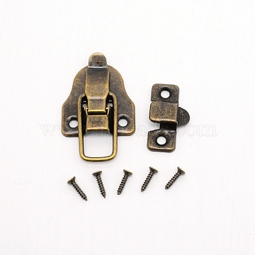 Iron Lock Catch Clasps, with Screw, Suitcase Box Latch Hasp Lock Clasps, Antique Bronze, 60x40x8mm, Hole: 4.5mm(IFIN-WH0034-31AB)