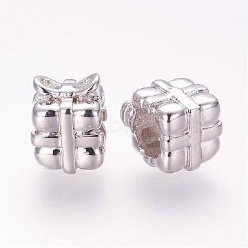 Brass Micro Pave Cubic Zirconia European Beads, Gift, Cube Large Hole Beads, Platinum, 10x8x8mm, Hole: 5mm(ZIRC-G091-69P)