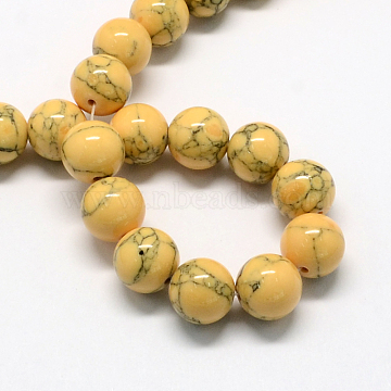 4mm Gold Round Synthetic Turquoise Beads