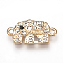 Alloy Rhinestone Links connectors, Elephant, Colorful, Light Gold, 19.5x11x2mm, Hole: 1mm