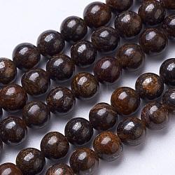 """Chapelets de perles en bronzite naturel, rond, 8mm, trou: 1mm; environ 47 pcs/chapelet, 15.6""""(G-D855-12-8mm)"""