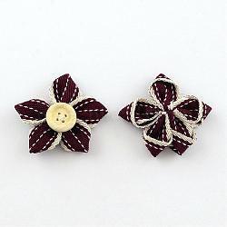 Accessoires de costumes tissés en tissu manuels, fleur, avec bouton en bois, DarkRed, 34~37x34~38x9~10mm(WOVE-S071-22B)