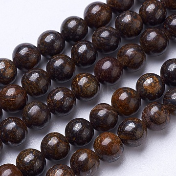 Natural Bronzite Beads Strands, Round, 8mm, Hole: 1mm; about 47pcs/strand, 15.6 inches(G-D855-12-8mm)