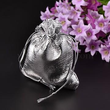 Organza Bags, Silver, 9x7cm(X-OP012-12)