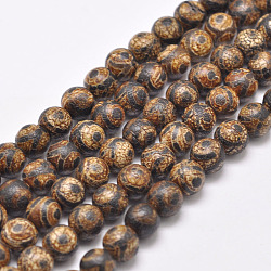 Tibetan Style 3-Eye dZi Beads Strands, Natural & Dyed Agate Beads, Round, SaddleBrown, 8mm, Hole: 1mm; about 48pcs/strand, 16''(X-G-P229-A-03-8mm)