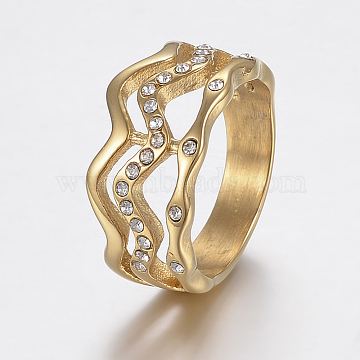 304 Stainless Steel Rhinestone Finger Rings, Golden, Size 6~9, 16~19mm(RJEW-H125-65G)