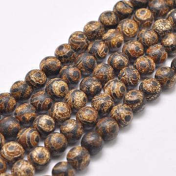 Tibetan Style 3-Eye dZi Beads Strands, Natural & Dyed Agate Beads, Round, SaddleBrown, 8mm, Hole: 1mm; about 48pcs/strand, 16''(X-G-P229-A-03-8mm)