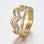 304 из нержавеющей стали горный хрусталь кольца палец, золотой, Размер 6~9, 16~19 mm