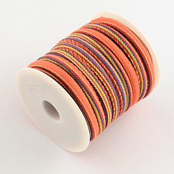 Ethnic Cord Cloth Cord, Colorful, 6~7mm, about 8.74 yards(8m)/roll(OCOR-Q003-02)