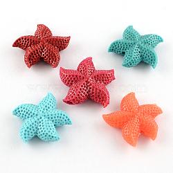 Perles en corail synthétique teinte, étoiles de mer, couleur mixte, 34x35x10mm, Trou: 3mm(CORA-R011-24)