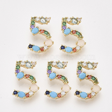 Real Gold Plated Colorful Number Brass+Cubic Zirconia Pendants