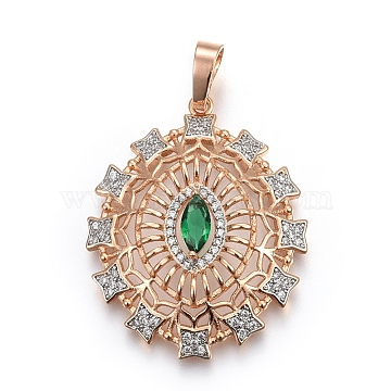 Light Gold Green Oval Brass+Cubic Zirconia Pendants