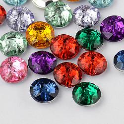 Acrylique strass taiwan 2 trou boutons ronds plat, facettes et dos plaqué argent, couleur mélangée, 33x12 mm, trou: 1 mm(X-BUTT-F015-33mm-M)