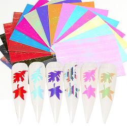 Autocollants à ongles de ligne auto-adhésifs, pour la conception d'art d'ongle, feuille d'érable, couleur mixte, 8x6.2cm; 1 pc / couleur, 16 pièces / kit(MRMJ-Q013-181)