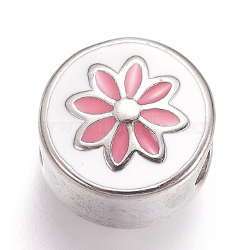 304 Stainless Steel European Beads, with Enamel, Large Hole Beads, Flat Round with Flower, Pink, Stainless Steel Color, 11x8.5mm, Hole: 5mm(STAS-F195-119P)