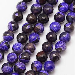 Natural Fire Agate Bead Strands, Round, Grade A, Faceted, Dyed & Heated, Indigo, 10mm, Hole: 1mm; about 37pcs/strand, 15