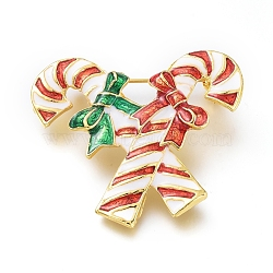 Golden Plated Alloy Brooches, with Enamel, Double Christmas Crutches, for Christmas, Colorful, 37.5x40.5x10.5mm; Pin: 0.8mm