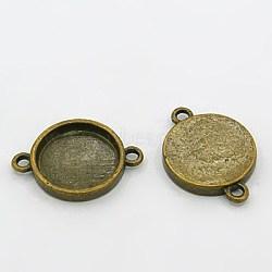 тибетского стиля разъем кабошон настройки, античная бронза, свинца и кадмия и никеля, плоские круглые, лоток: 15 мм; 25x18x3 мм, отверстия: 2 mm(X-MLF11386Y-NF)