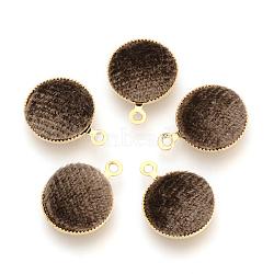 Подвесные велюровые подвески, с латунной фурнитурой , плоско-круглые, золотые, верблюжие, 14x11x3 мм, отверстие : 1 мм(WOVE-R101-B02)