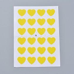 Autocollants en papier kraft, étiquettes autocollantes jet d'encre, cœur, jaune, 120x88mm; coeur: 14x16mm; environ 24pcs / feuille, 12TIRAGES / sac(AJEW-WH0077-01F)