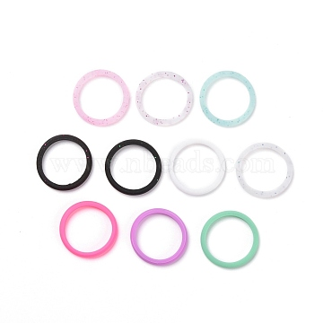Silicone Wedding Ring for Women, Thin and Stackable Durable Rubber Safe Band for Love, Couple, Souvenir and Outdoor Active Exercise Style, Mixed Color, US Size 7 1/4(17.5mm), 10pcs/bag(RJEW-H547-05)